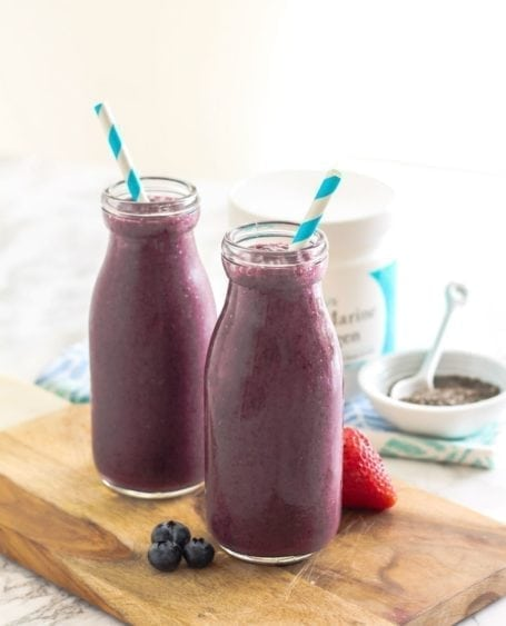 We are what we eat, and what we eat can greatly influence the radiance of our skin. This Beauty-Boosting Triple Berry Smoothie and Matcha Collagen Latte are 2 recipes for healthier skin that you can easily make in your own kitchen - via Eat Spin Run Repeat // @eatspinrunrpt