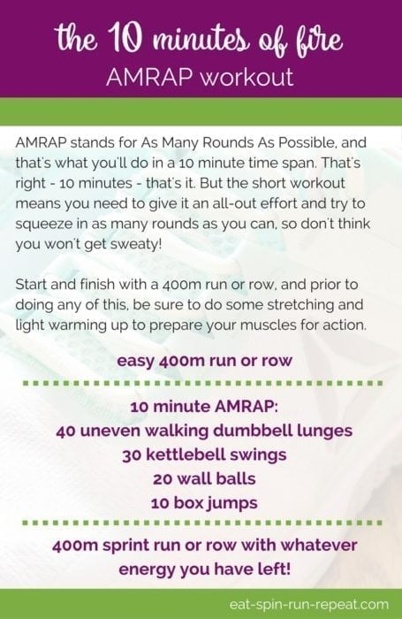 Fitness Friday 295- The 10 Minutes of Fire AMRAP Workout - This Crossfit-inspired workout will push you to do as many rounds as possible for a total body burn. Strength + cardio, all in one! Get the downloadable PDF via Eat Spin Run Repeat // @eatspinrunrpt