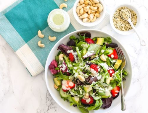 Strawberry Avocado Salad with Hemp Tahini Dressing