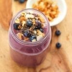 Cherry Chia Blueberry Smoothie - vegan, high protein, lower sugar || Eat Spin Run Repeat