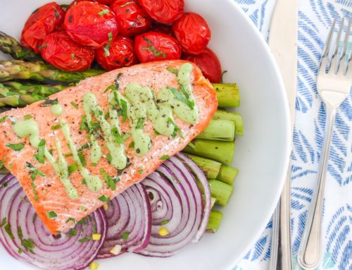 One-Pan Herb Roasted Arctic Char with Asparagus and Tomatoes
