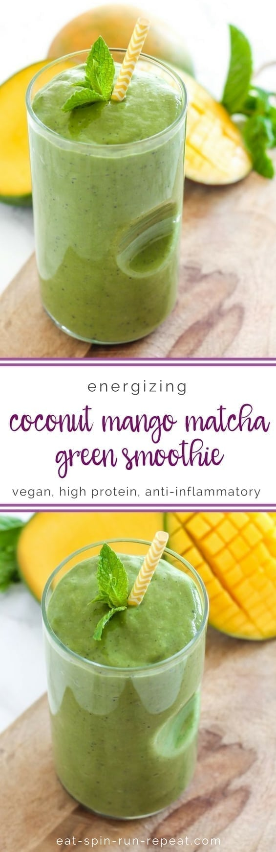 Coconut Mango Matcha Green Smoothie - vegan + gluten free, and full of anti-inflammatory whole foods! || Eat Spin Run Repeat
