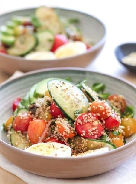 Heirloom Tomato Cucumber and Quinoa Salad - Eat Spin Run Repeat