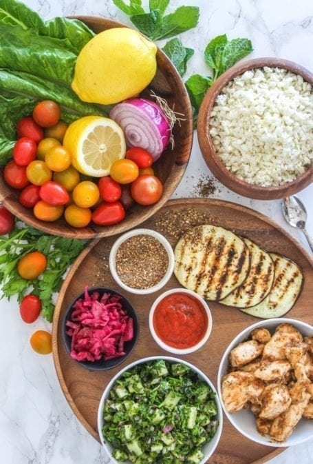 Deconstructed Chicken Shawarma Bowls - paleo, grain-free, gluten-free - Eat Spin Run Repeat