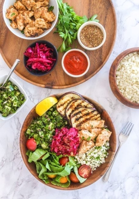 Deconstructed Chicken Shawarma Bowls - paleo, grain-free, gluten-free - Eat Spin Run Repeat