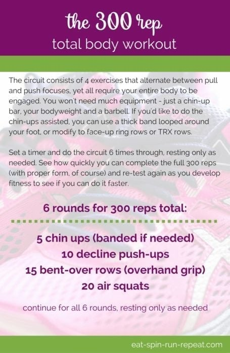 Fitness Friday 300: The 300 Rep Total Body Workout - With just 4 moves this workout doesn't sound so bad, but it's guaranteed to work your entire body from head to toe, build strength and challenge your fitness! Downloadable PDF via Eat Spin Run Repeat // @eatspinrunrpt