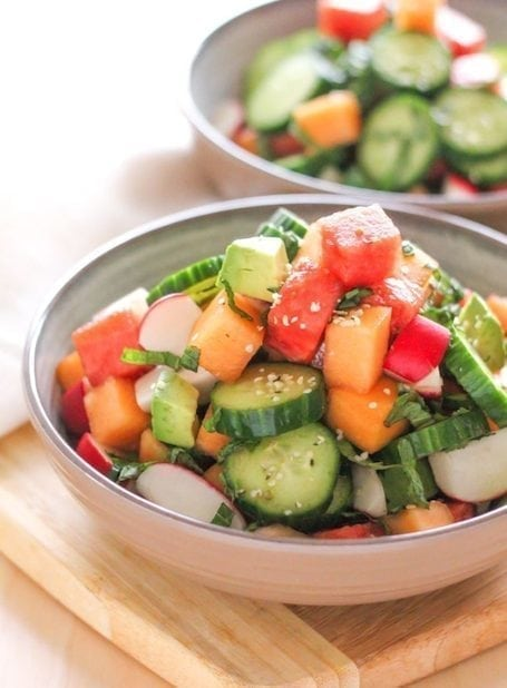 Hydrating Cucumber Melon and Avocado Salad - Eat Spin Run Repeat