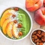 Lower-sugar Peaches and Greens Smoothie Bowl - vegan, gluten-free, high protein || Eat Spin Run Repeat