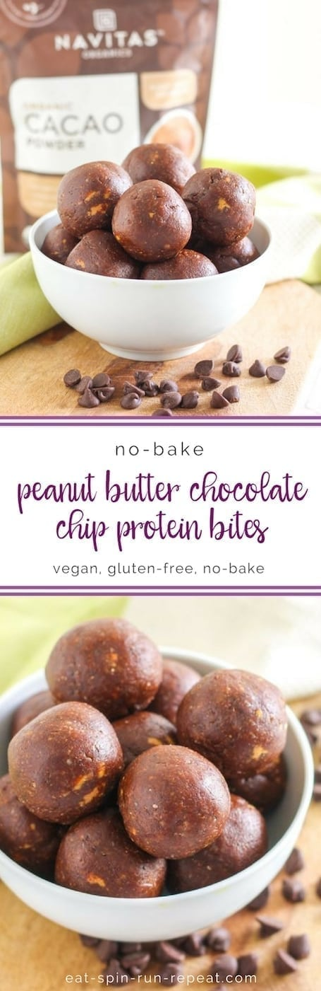 Vegan + Gluten-Free Peanut Butter Chocolate Chip Protein Bites || Eat Spin Run Repeat