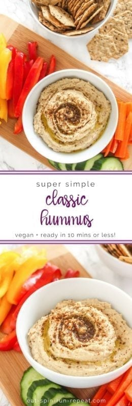 Super Simple Hummus - a classic chickpea recipe and a must-have in your healthy snack routine! Eat Spin Run Repeat