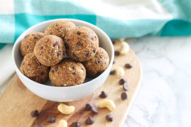 Easy Vegan Chocolate Chip Cashew Cookie Dough Protein Bites - Eat Spin Run Repeat