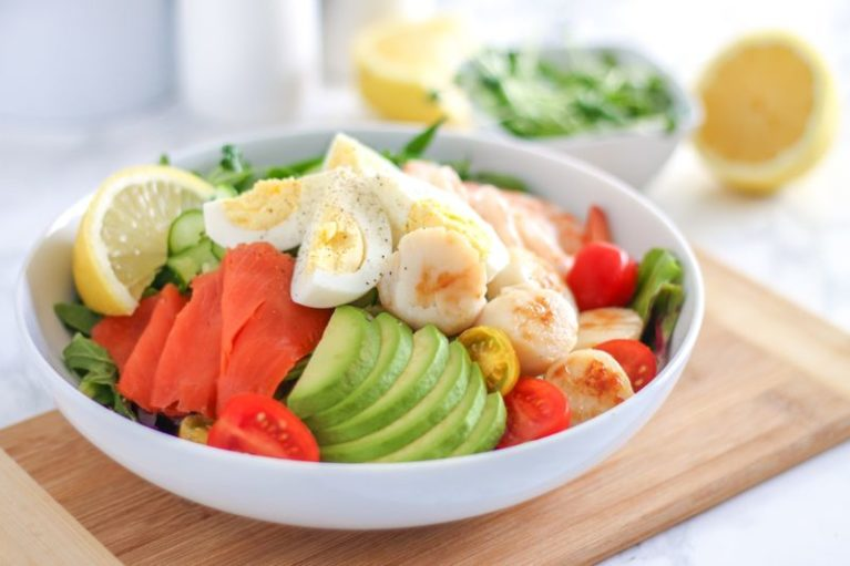West Coast Chopped Seafood Salad - paleo, high protein, and full of healthy omega-3 fats!    Eat Spin Run Repeat