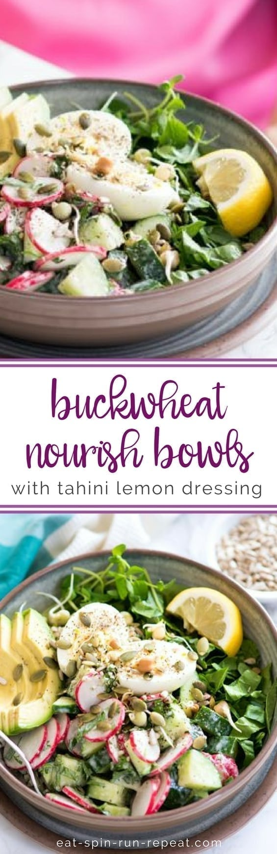 Gluten-Free Buckwheat Nourish Bowls with Tahini Lemon Dressing | a delish vegetarian, low sugar, make-ahead-safe lunch! | Eat Spin Run Repeat