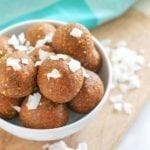 No-bake vegan Coconut Carrot Cake Protein Bites - gluten free + dairy free || Recipe via Eat Spin Run Repeat