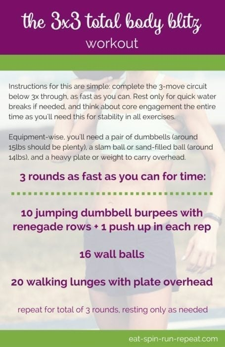 Fitness Friday 302: The 3x3 Total Body Blitz Workout - Eat Spin Run Repeat