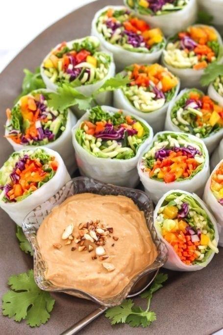 Loaded Veggie Summer Rolls with Cashew Tahini Dip - vegan + gluten free    Eat Spin Run Repeat