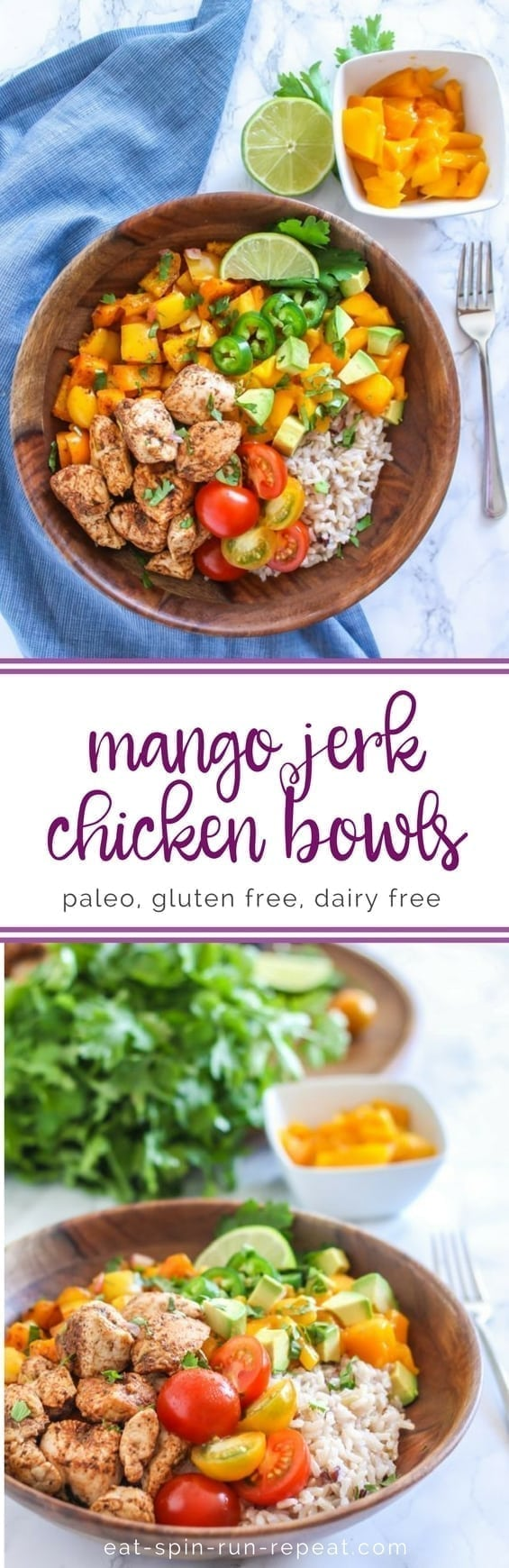 Zesty, spicy, sweet and super fresh, these Mango Jerk Chicken Bowls might soon become a healthy dinner time favourite. Serve with rice, or cauliflower rice to make it paleo-friendly.    Eat Spin Run Repeat