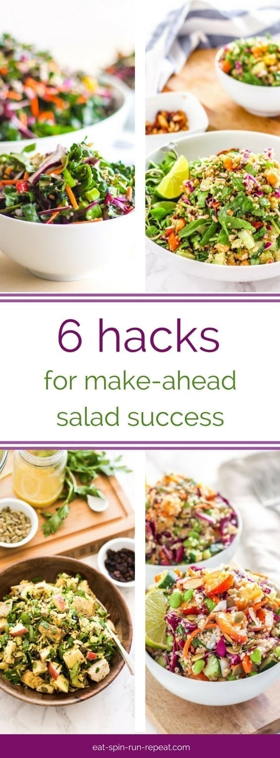 6 hacks for make-ahead salad success + healthy meal-sized salad recipes || Eat Spin Run Repeat
