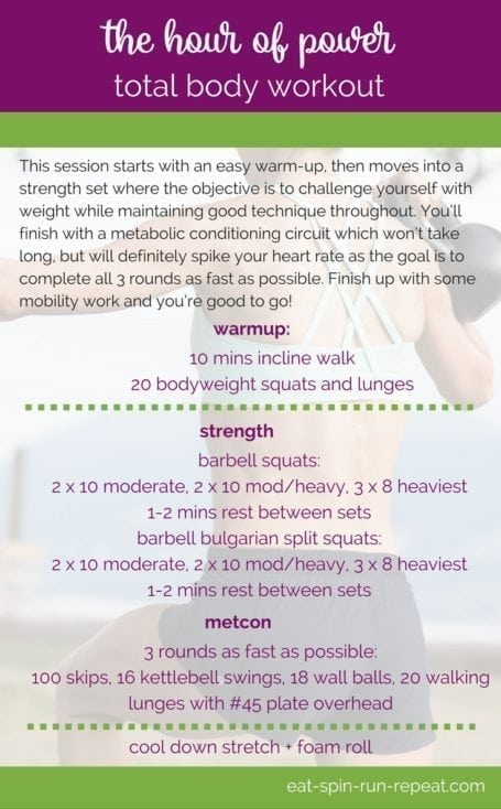 Build strength and power from head to toe with this Hour of Power Total Body Workout    Eat Spin Run Repeat