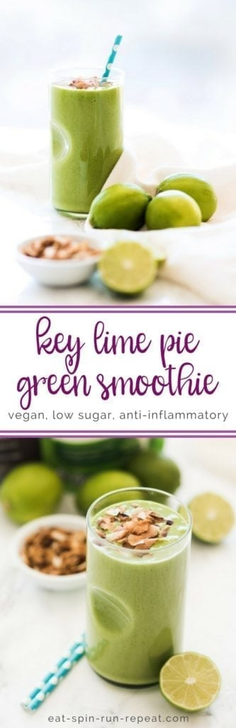 Low Sugar Key Lime Pie Green Smoothie || vegan, high protein, anti-inflammatory || Eat Spin Run Repeat