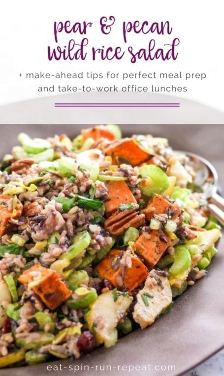 Pear and Pecan Wild Rice Salad with Apple Cider Vinaigrette || plus tips for big batch meal prep and office lunches || Eat Spin Run Repeat