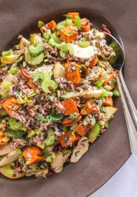 Chicken, Pear and Pecan Wild Rice Salad    gluten-free + dairy-free    Eat Spin Run Repeat