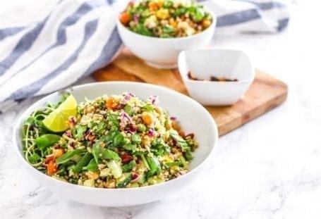 Quinoa Trailblazer Salad with Maple Tamari Roasted Almonds   vegan + gluten-free    Eat Spin Run Repeat