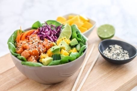 Salmon Poke Bowl with Spicy Sauce || gluten free, paleo, high protein || Eat Spin Run Repeat