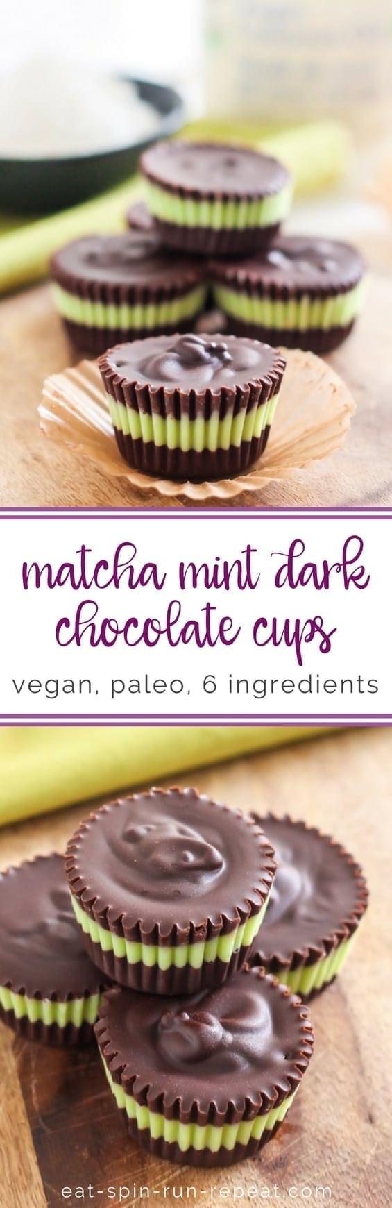 6-Ingredient Matcha Mint Dark Chocolate Cups || vegan + nut-free || Eat Spin Run Repeat