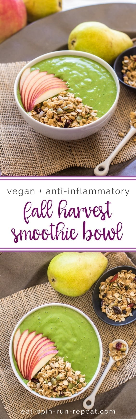 Fall Harvest Smoothie Bowl || Packed with apples, pears, greens and ginger, this anti-inflammatory, vegan smoothie is a fall fave! || Eat Spin Run Repeat