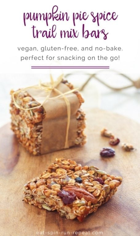 Pumpkin Pie Spice Trail Mix Bars || vegan, gluten-free, no-bake - a perfect healthy portable snack! || Eat Spin Run Repeat