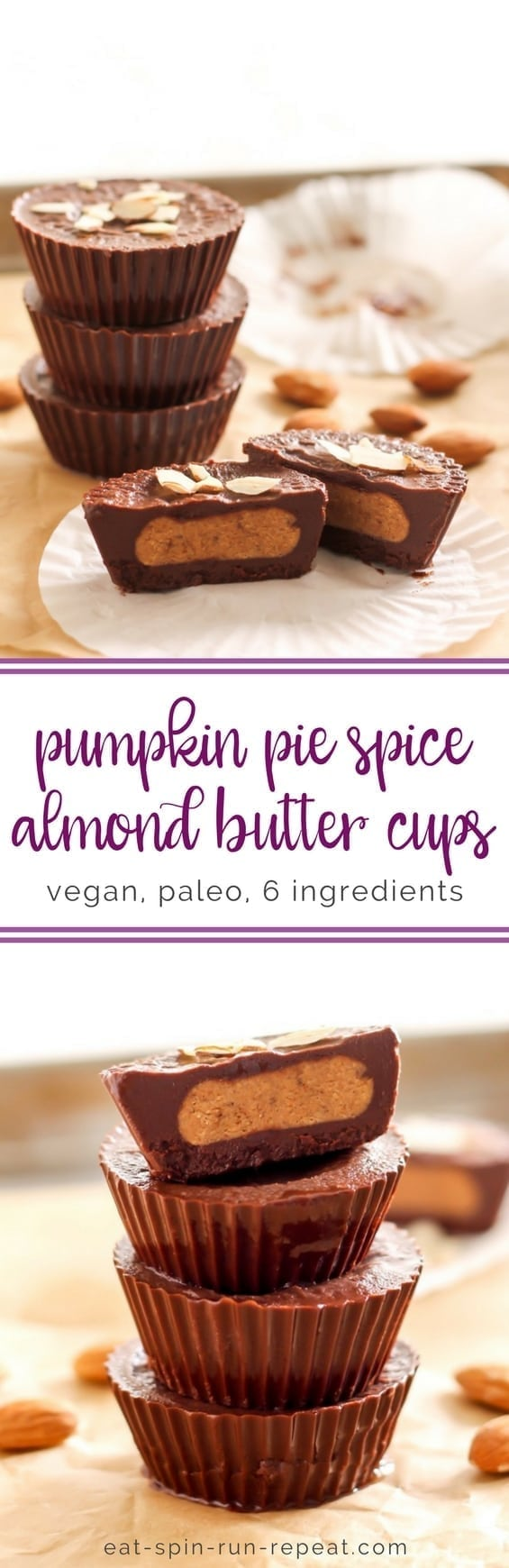 Pumpkin Pie Spice Almond Butter Cups || vegan, paleo, 6 ingredients! || Eat Spin Run Repeat