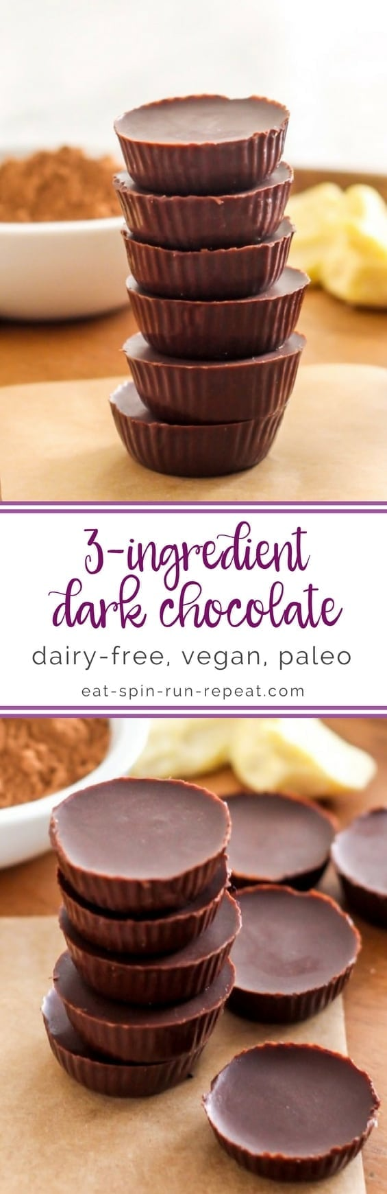 DIY 3-Ingredient Vegan Chocolate || step by step tutorial || Eat Spin Run Repeat