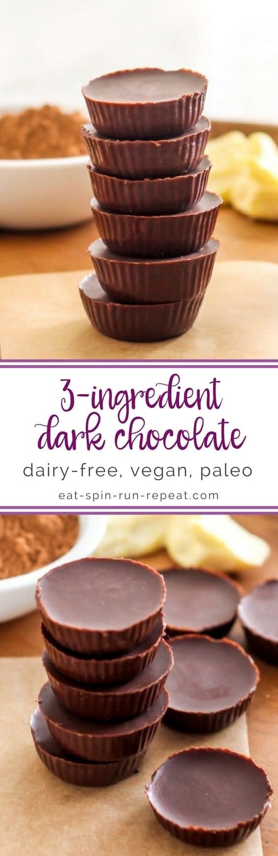 DIY 3-Ingredient Vegan Chocolate || step by step tutorial || Eat Spin Run Repeat