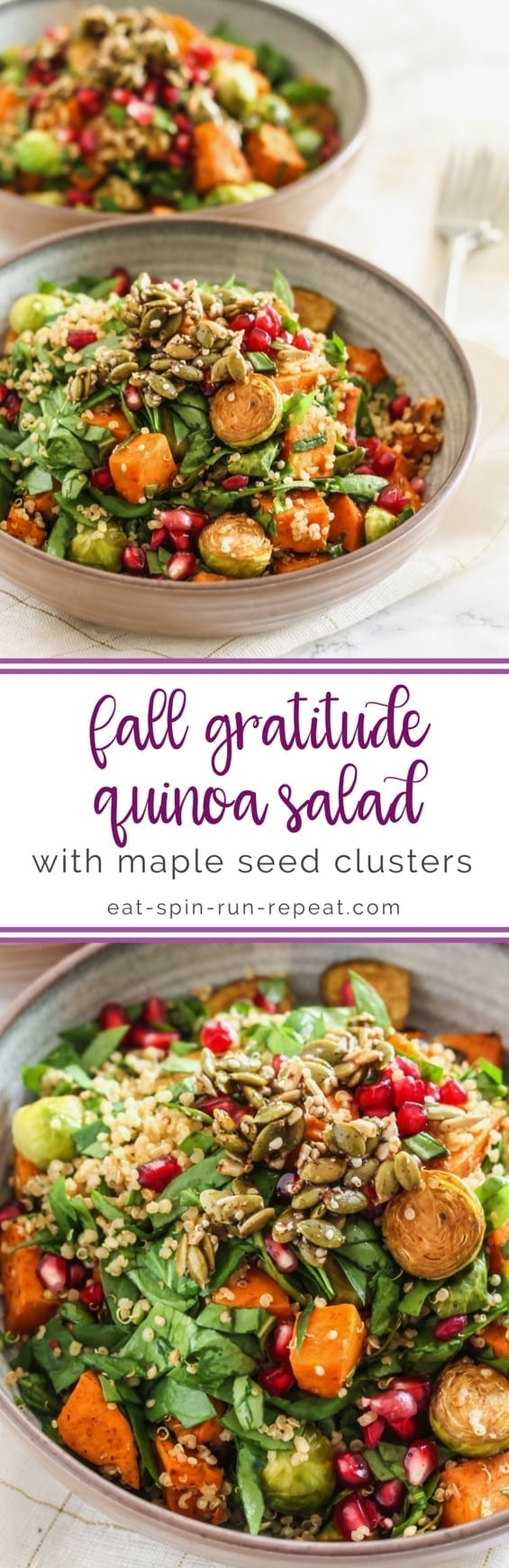 Fall Gratitude Quinoa Salad with Maple Seed Clusters || #vegan #antiinflammatory #glutenfree || Eat Spin Run Repeat