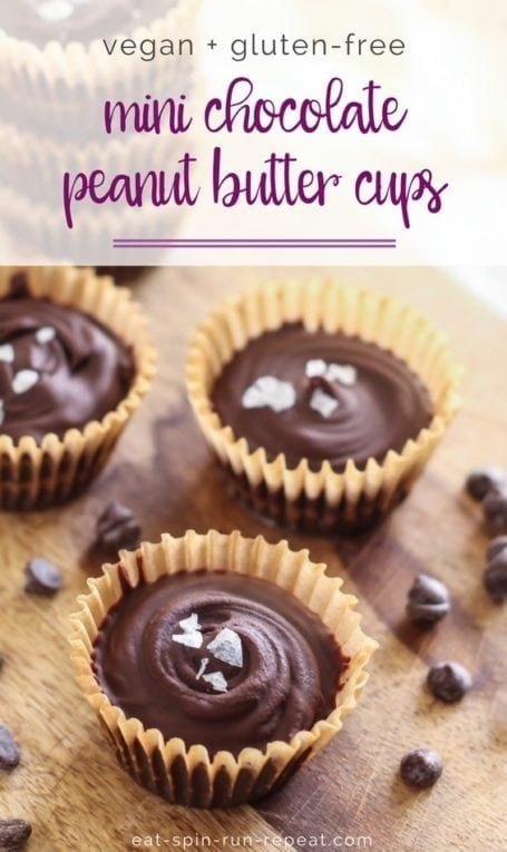 Mini Chocolate Peanut Butter Cups || made with superfoods maca + lucuma for an extra superfood boost! || #vegan #glutenfree || Eat Spin Run Repeat