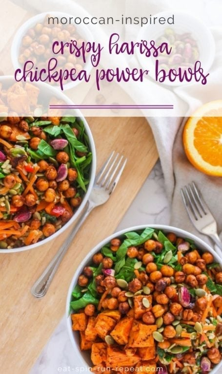 Moroccan-Inspired Crispy Harissa Chickpea Power Bowls || vegan, gluten-free, big batch + make-ahead meal prep friendly! || Eat Spin Run Repeat