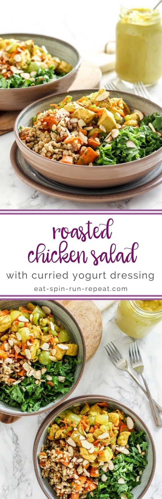 Roasted Chicken Salad with Curried Yogurt Dressing || #glutenfree #dairyfree #antiinflammatory || Eat Spin Run Repeat