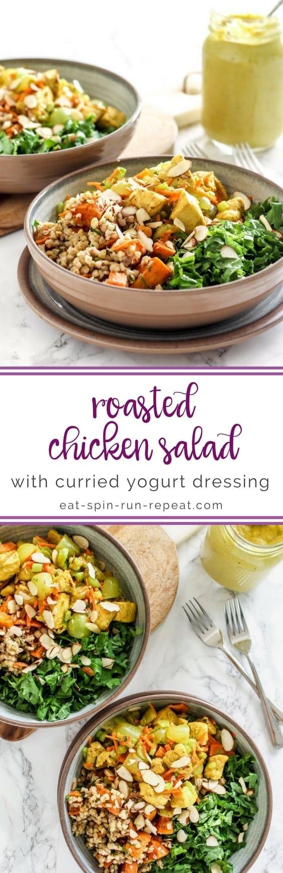 Roasted Chicken Salad with Curried Yogurt Dressing || #glutenfree #dairyfree #antiinflammatory || Eat Spin Run Repeat