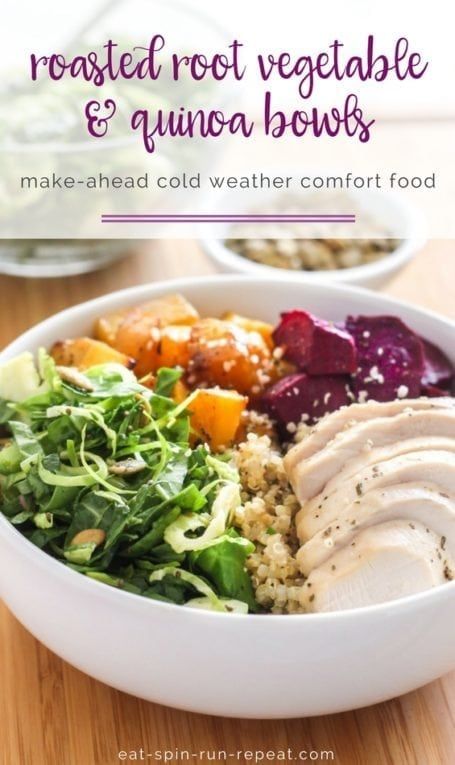 Roasted Root Vegetable + Quinoa Bowls with Balsamic Vinaigrette || gluten-free dairy-free healthy fall comfort food || Eat Spin Run Repeat