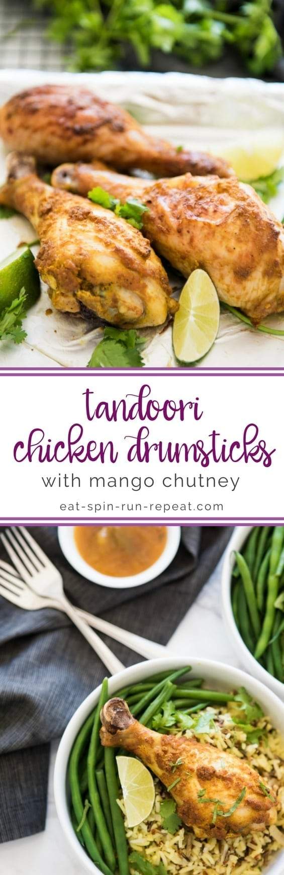 Healthy Tandoori Chicken Drumsticks with Mango Chutney || #glutenfree #paleo || Eat Spin Run Repeat