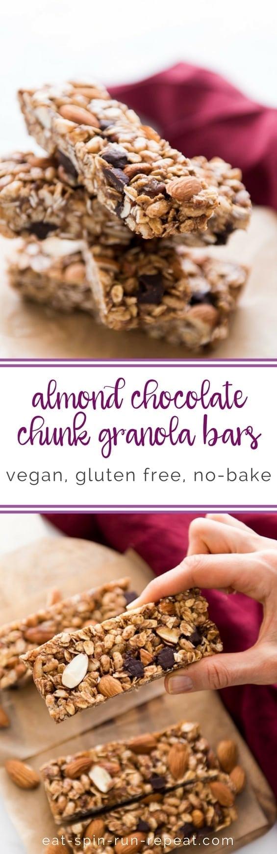 No-Bake Almond Chocolate Chunk Granola Bars || #vegan #glutenfree || Eat Spin Run Repeat