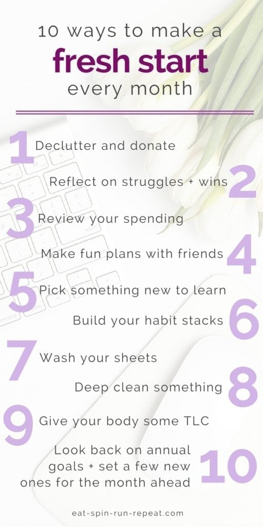 10 ways to make a fresh start every month | #goals #motivation #selflove #selfcare #selfdevelopment #productivity | Eat Spin Run Repeat