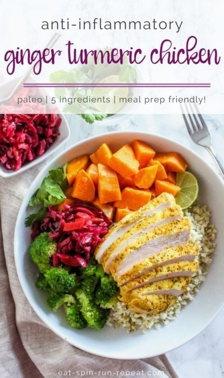 Easy Anti-Inflammatory Ginger Turmeric Chicken | one pan, 5 ingredients! | #antiinflammatory #paleo #mealprep | Eat Spin Run Repeat