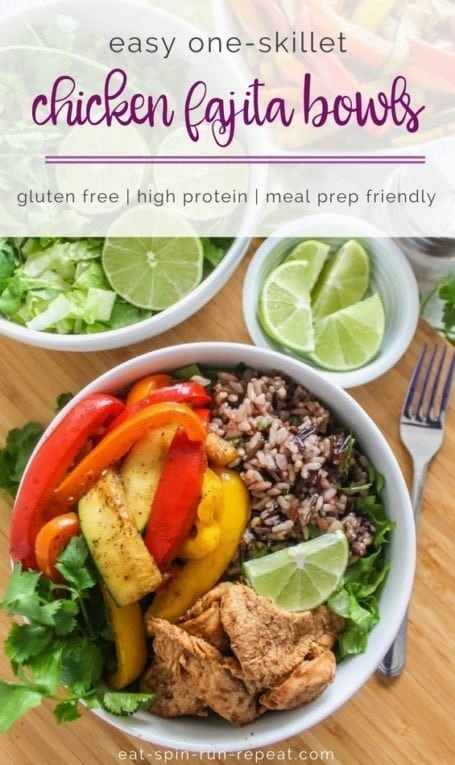 Easy One-Skillet Chicken Fajita Bowls | high in protein, great for big batch meal prep, and easy to customize with your favourite veggies! | #mealprep #nutrition #fajita #eatclean #chicken | Eat Spin Run Repeat