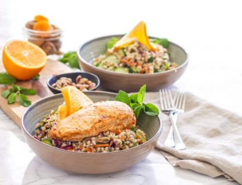 Moroccan Grain Bowls with Harissa Orange Chicken