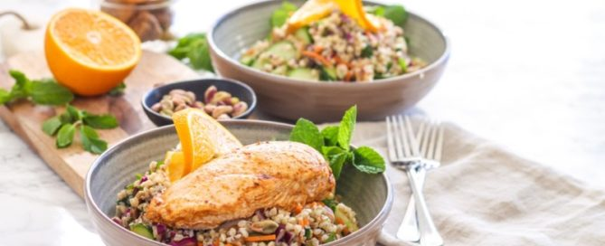 Moroccan Grain Bowl with Harissa Orange Chicken   #glutenfree #mealprep #harissa #moroccan #dairyfree #buckwheat   Recipe by Angela Simpson, Eat Spin Run Repeat
