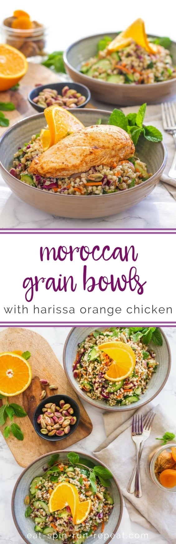 Moroccan Grain Bowls with Harissa Orange Chicken | #glutenfree #mealprep #harissa #moroccan #dairyfree #buckwheat | Recipe by Angela Simpson, Eat Spin Run Repeat