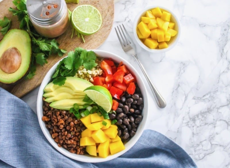 Vegan Lentil Walnut Taco Bowls - an easy, budget-friendly, high-protein vegan meal perfect for make-ahead meal prep and enjoying all week long! | #meatlessmonday #vegan #plantbased #lentils #beans #legumes #antiinflammatory #glutenfree | Eat Spin Run Repeat