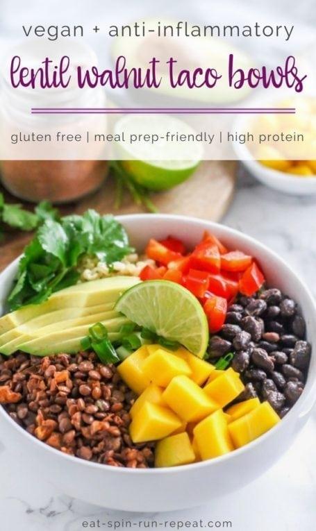 Vegan Lentil Walnut Taco Bowls - an easy, budget-friendly, high-protein vegan meal perfect for make-ahead meal prep and enjoying all week long! | #meatlessmonday #vegan #plantbased #lentils #beans #legumes #antiinflammatory #glutenfree #mealprep | Eat Spin Run Repeat